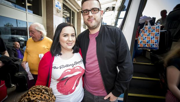 McBurney/Rolling Stones - 'STONES - NO FILTER' 2018 tour  Pictured Rolling Stones fans Kelly and Richard O'Neill as they journey from Belfast to Dublin for the first date of the 'STONES - NO FILTER' 2018 tour at Croke Park.  Date: Thursday 17th May 2018 Location: Europa Bus Station, Belfast Credit: Liam McBurney/RAZORPIX Copyright: Liam McBurney/RAZORPIX  Liam McBurney +44 7837 685767 +44 2890 660676 liammcburney@gmail.com