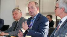 Dr Michael McBride (centre), Chief Medical Officer for Northern Ireland, speaks at the briefing along with Dr Gerry Waldron (left), PHA head of health protection