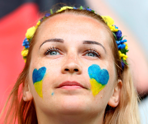 An Ukraine fan is seen prior to the UEFA EURO 2016 Group C match between Germany and Ukraine at Stade Pierre-Mauroy on June 12, 2016 in Lille, France.  (Photo by Clive Mason/Getty Images)