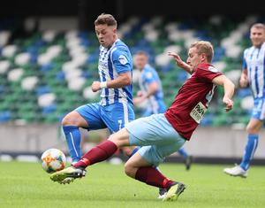 Pacemaker Belfast 27-7-20 Ballymena v Coleraine - Sadler's Peaky Blinder Irish Cup Semi Final Ballymena's Jonathan Addis and Coleraine's Ben Doherty during today's game at the National Stadium, Belfast.  Photo by David Maginnis/Pacemaker Press