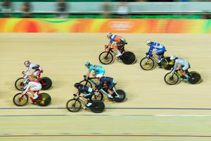 RIO DE JANEIRO, BRAZIL - AUGUST 16:  Cyclists compete during the Women's Omnium Points race on Day 11 of the Rio 2016 Olympic Games at the Rio Olympic Velodrome on August 16, 2016 in Rio de Janeiro, Brazil.  (Photo by Rob Carr/Getty Images)