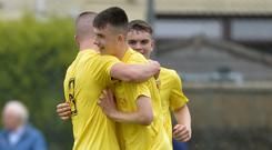 Happy days: Antrim ace Connor Scannell celebrates making it 2-0