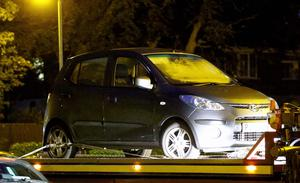 Pictured is the car at the scene at Irvine Park in Bangor. Picture: Kevin Scott