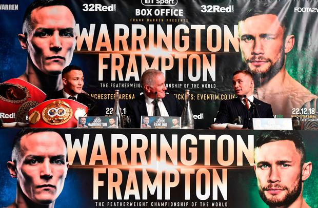 On tour: BT Sport's John Rawlings flanked by Josh Warrington and Carl Frampton at their Belfast press conference yesterday