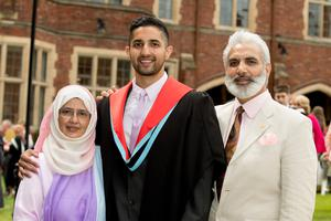 Aizaz Chaudhry is celebrating success with his parents Muhammad-Anwar Chaudhry and Kulsoom Chaudhry. Aizaz, from London, graduated with a degree in medicine from Queens University Belfast.