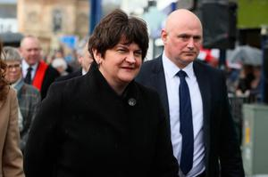 DUP leader Arlene Foster arrives for the funeral of former Manchester United and Northern Ireland goalkeeper Harry Gregg, at St Patrick's Parsh Church, Coleraine. PA Photo. Picture date: Friday February 21, 2020. See PA story FUNERAL Gregg. Photo credit should read: Brian Lawless/PA Wire