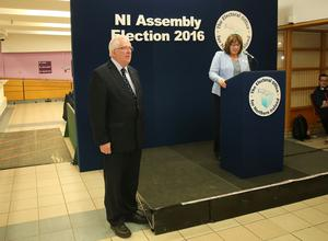 Press Eye - Valley Leisure Centre - Count Centre  - 7th May 2016 Photograph By Declan Roughan  Returning officer Janet Goodall announces Stewart Dickson, Alliance, elected.  The count continues for the second day at the Valley Leisure Centre for East Antrim.
