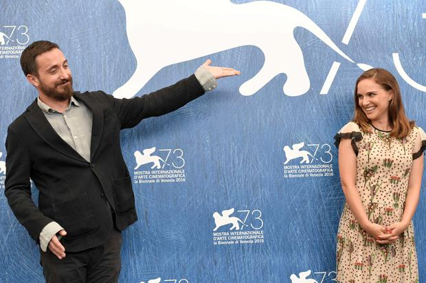 "Actress Natalie Portman (R) and director Pablo Larrain attend the photocall of the movie ""Jackie"" presented in competition at the 73rd Venice Film Festival on September 7, 2016 at Venice Lido.TIZIANA FABI/AFP/Getty Images"