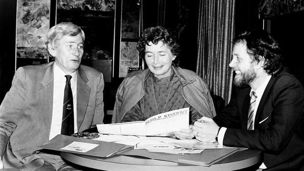 PACEMAKER BELFAST  archive  30/01/1984 SDLP deputy leaderSeamus Mallon with Brid Rodgers & Raurai Quinn at annual Conference at the Forum Hotel