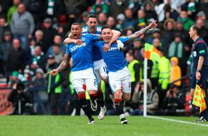 GLASGOW, SCOTLAND - APRIL 17:  Barrie McKay (R) of Rangers celebrates with his team-mates after he scoring their second goal during the Scottish Cup Semi Final between Rangers and Celtic at Hampden Park on April 17, 2016 in Glasgow, Scotland. (Photo by Ian MacNicol/Getty)