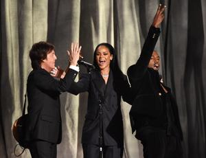 Paul McCartney, from left, Rihanna, and Kanye West perform at the 57th annual Grammy Awards on Sunday, Feb. 8, 2015, in Los Angeles. (Photo by John Shearer/Invision/AP)
