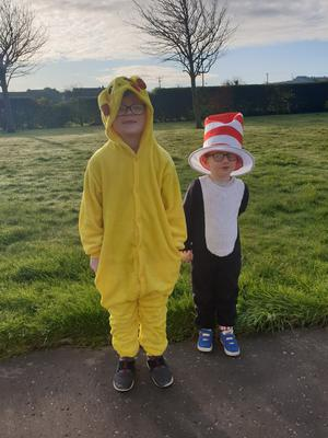 Robbie (6) as Pikachu. Jayden (4) as Cat in the Hat,  from Tullyally, Londonderry