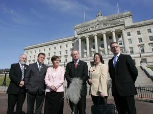 PACEMAKER BELFAST 4/4/2007 Sinn Fein today announced their Ministerial team in the forthcoming Executive on 8th May. Making the announcement Chief negotiator and deputy first Minister martin McGuinness was joined on the Stormont Steps by Francie Molloy, Connor Murphy, Catriona Ruane, Michelle Gildernew and Gerry Kelly. PHOTO MARK PEARCE/PACEMAKER PRESS