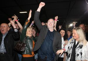 Winner: Sinn Fein candidate for South Down Chris Hazzard celebrates after winning the seat at the election count at the Eikon Exhibition Centre Sprucefield for Lagan Valley, Newry & Armagh, South Down and Upper Bann. Picture by Jonathan Porter/PressEye.com