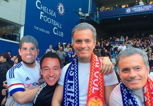 LONDON, ENGLAND - OCTOBER 31:  Chelsea fans wearing Jose Mourinho, John Terry and Diego Costa masks are seen on the stand prior to the Barclays Premier League match between Chelsea and Liverpool at Stamford Bridge on October 31, 2015 in London, England.  (Photo by Clive Rose/Getty Images)