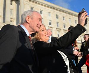 Michelle O'Neill is announced as Sinn Fein's new leader in the north by Senior Members Martin McGuinness , Gerry Adams and Mary McDonald at  Stormont on Monday. Pic Colm Lenaghan/Pacemaker