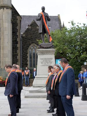 PACEMAKER PRESS BELFAST  13/7/2020 Twelfth of July celebrations in Portadown today. People were encouraged to celebrate the Twelfth from home due to coronavirus. The Orange Order were not parading today, however, a small number of local lodges took part in a Remembrance Service at Portadown Cenotaph.  Photo Pacemaker Press
