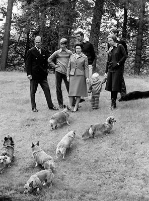 File photo dated 20/11/79 of Queen Elizabeth II (third left) and her family enjoying a stroll with their dogs in the grounds of Balmoral Castle, as Corgis have been the Queen's life-long companions - small dogs described as having big personalities. PRESS ASSOCIATION Photo. Issue date: Sunday April 03, 2016. The head of state is famed for her love of the breed with many of her dogs descended from her first pet Susan, who was an 18th birthday present from her parents. See PA story ROYAL Birthday Dogs. Photo credit should read: Ron Bell/PA Wire