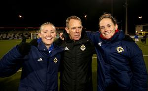 Jackie Burns, Kenny Shiels and Sarah McFadden celebrate at the final whistle on Friday evening.