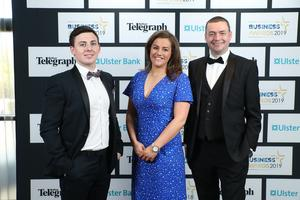 Press Eye - Belfast - Northern Ireland - 2nd May 2019 -   Matthew, Gabbi Burnside and John Ferris pictured at the Belfast Telegraph Business Awards in association with Ulster Bank at the Crowne Plaza Hotel, Belfast. Photo by Kelvin Boyes / Press Eye.