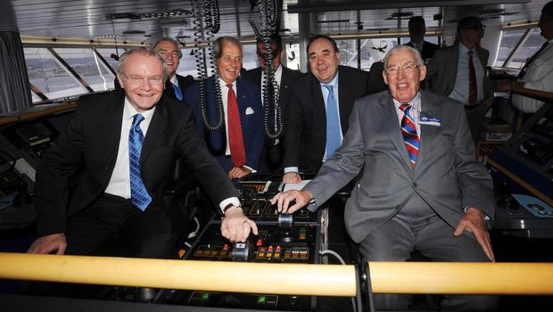 PACEMAKER BELFAST 4/6/2008. Bridge to the Future... First Minister Ian Paisley and Deputy First Minister Martin McGuinness pictured with Scottish First Minister Alex Salmond and Dan Sten Olsson, Chairman of Stena Line, Conor Murphy Minister for Regional Development and Len O'Hagan, Chairman of Belfast Harbour Commissioners on the bridge of the Stena HSS at the official opening of the new £37million Stena Line Terminal at Belfast Port today. Picture Charles McQuillan/Pacemaker.