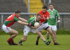 """4th May 2013 """"Together For Sam"""" Fundraising G.A.A. Match between Fermanagh and Mayo at Brewster Park, Enniskillen Fermanaghs Kane Connor in action at Saturday Nights Game."""