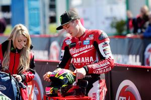 Josh Brookes, Milwaukee Yamaha during Tuesday's practice session at the Vauxhall International 2014 North West 200.