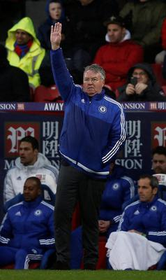 Chelsea's Dutch manager Guus Hiddink gestures during the English Premier League football match between Crystal Palace and Chelsea at Selhurst Park in south London on January 3, 2016. Chelsea won the match 3-0.    AFP PHOTO / ADRIAN DENNIS  RESTRICTED TO EDITORIAL USE. NO USE WITH UNAUTHORIZED AUDIO, VIDEO, DATA, FIXTURE LISTS, CLUB/LEAGUE LOGOS OR 'LIVE' SERVICES. ONLINE IN-MATCH USE LIMITED TO 75 IMAGES, NO VIDEO EMULATION. NO USE IN BETTING, GAMES OR SINGLE CLUB/LEAGUE/PLAYER PUBLICATIONS.ADRIAN DENNIS/AFP/Getty Images