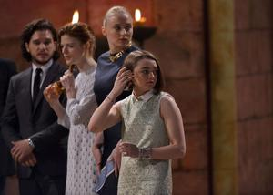 24/6/2014 PACEMAKER PRESS INTL. Game of Thrones cast members, Rose Leslie (Ygritte), Sophie Turner (Sansa Stark), Kit Harrington (Jon Snow) and Maisie Williams (Arya Stark)  from the hit HBO show nervously await the arrival of Her Majesty The Queen. Picture Charles McQuillan/Pacemaker.