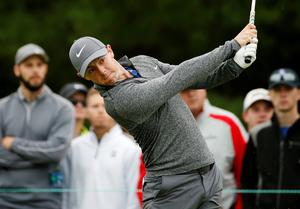Rory McIlroy, of Northern Ireland, tees off on the third hole during the final round of the Deutsche Bank Championship golf tournament in Norton, Mass., Monday, Sept. 5, 2016. (AP Photo/Michael Dwyer)