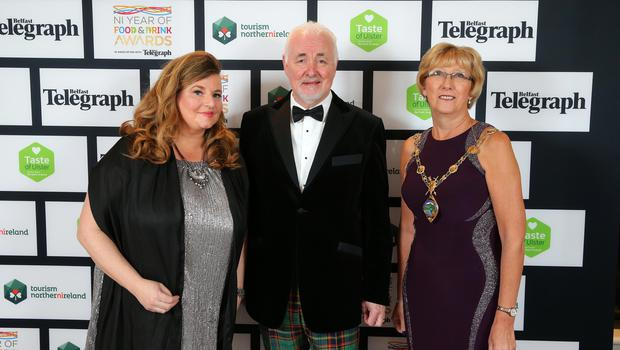 Press Eye - Belfast - Northern Ireland - 2nd February 2017 -    NI Year of Food & Drink Awards at the Culloden Hotel.  Mary Blake, Tourism Manager Derry City and Strabane District Council, Terence Brannigan, Chairman of Tourism NI and Ald. Hilary McClintock, Mayor Derry City and Strabane District Council pictured at the NI Year of Food & Drink Awards at the Culloden Hotel.  Photo by Kelvin Boyes / Press Eye.