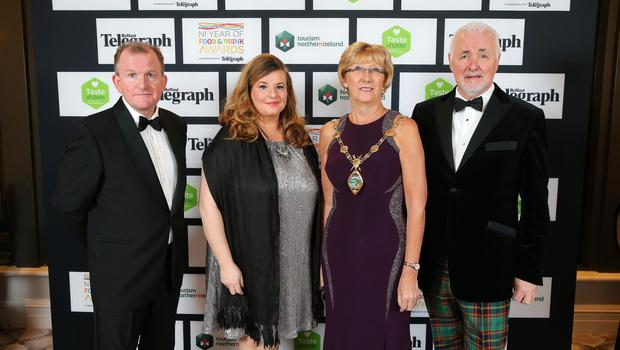 Press Eye - Belfast - Northern Ireland - 2nd February 2017 -    NI Year of Food & Drink Awards at the Culloden Hotel.  Richard McClean, Managing Director of Belfast Telegraph, Mary Blake, Tourism Manager Derry City and Strabane District Council, Ald. Hilary McClintock, Mayor Derry City and Strabane District Council and Terence Brannigan, Chairman of Tourism NI pictured at the NI Year of Food & Drink Awards at the Culloden Hotel.  Photo by Kelvin Boyes / Press Eye.