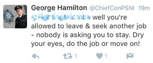Chief Constable George Hamilton on Twitter.