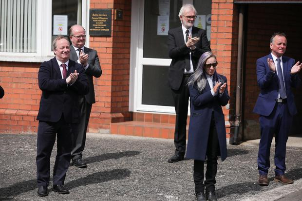 Press Eye - Belfast - Northern Ireland - 4th May 2020 -    Family and friends including Michael McDowell and Damon Quinn pictured at the funeral of actor BJ Hogg in Lisburn, County Antrim. He was best known as Big Mervyn in the BBC series Give My Head Peace, but BJ Hogg was also a hugely versatile TV, stage and screen actor.  Mr HoggÕs wife Elish McDonnell Hogg, son Nathan and daughter Abigail joined other family and friends.   Photo by Kelvin Boyes / Press Eye.