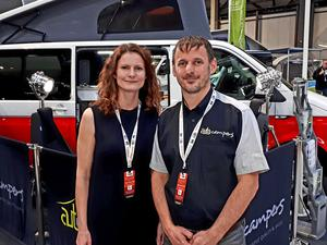 TEAMINGUP: Highland Auto Campers owner Mark Jarratt with girlfriend Alicia.