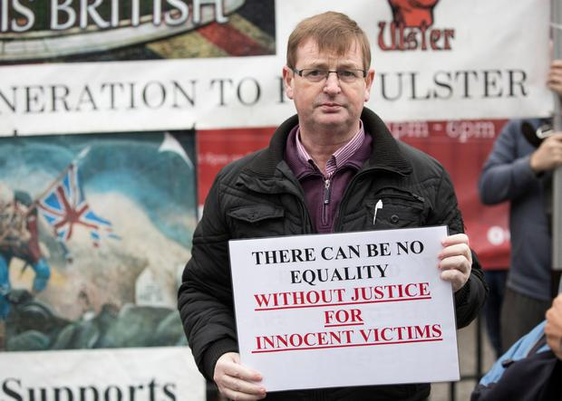 Flag protesters gather at Belfast City Hall to protest against the Union Jack not being flown from the City Hall except for designated days. Willie Frazer. Picture Mark McCormick 29/11/14