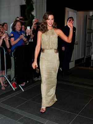 NEW YORK, NY - MAY 04:  Kate Beckinsale departs The Carlyle Hotel to attend the MET Gala 2015 on May 4, 2015 in New York City.  (Photo by Rob Kim/Getty Images  for The Carlyle)