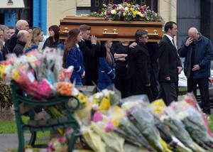 The Funeral of  Ellen Finnegan takes place at St Malachy's church in Castlewellan, Co Down on Tuesday. Ellen Finnegan died in a blaze in her flat above the family's butcher's shop on Saturday. Pacemaker Press 19/1/2016