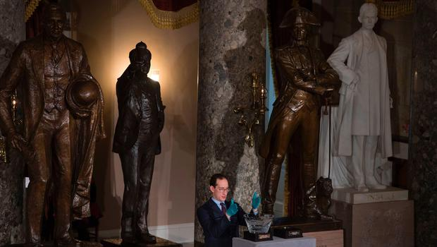 The ceremonial gifts for the President and Vice President are set in Statuary Hall in the Capitol for the Inaugural Lunch following Donald Trump's inauguration as the 45th President of the United States, in Washington, DC, on January 20, 2017.  / AFP PHOTO / MOLLY RILEYMOLLY RILEY/AFP/Getty Images