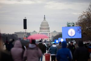 WASHINGTON, DC - JANUARY 20: Protesters and supporters gather on the National Mall for the inauguration of Donald Trump on January 20, 2017 in Washington, DC. Today Trump is sworn in as the 45th president of the United States. (Photo by Jessica Kourkounis/Getty Images)