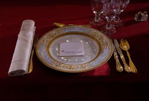 The President's place setting is displayed in Statuary Hall in the Capitol for the Inaugural Lunch following Donald Trump's inauguration as the 45th President of the United States, in Washington, DC, on January 20, 2017.  / AFP PHOTO / MOLLY RILEYMOLLY RILEY/AFP/Getty Images