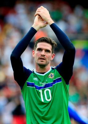 Northern Ireland's Kyle Lafferty applauds the fans after the final whistle during the UEFA Euro 2016, Group C match at the Parc Des Princes, Paris. PRESS ASSOCIATION Photo. Picture date: Tuesday June 21, 2016. See PA story SOCCER N Ireland. Photo credit should read: Jonathan Brady/PA Wire. RESTRICTIONS: Use subject to restrictions. Editorial use only. Book and magazine sales permitted providing not solely devoted to any one team/player/match. No commercial use. Call +44 (0)1158 447447 for further information.