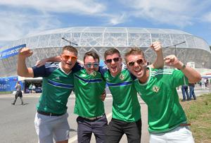 Northern Ireland v Poland Euro 2016 Group C Northern Ireland Fans From L-R Graeme Hamilton, Conor Munn, Scott Robinson and Luke McCreery at   this afternoons Euro 2016 International  at the Allianz stadium in Nice on Sunday. Pic Colm Lenaghan/Pacemaker