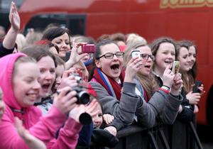 07.03.13. PICTURE BY DAVID FITZGERALD One Direction fans outside the back of the Odyssey Arena trying to catch a glimpse of the band. One Direction entered through the supply entrance and the gates were shut to the public