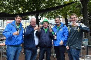 Northern Ireland Fans  arrive  in Hannover, ahead of Northern Ireland's World Cup Qualifier against Germany on Tuesday evening. Photo Colm Lenaghan/Pacemaker Press