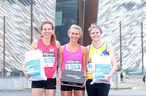 Press Eye Belfast - Northern Ireland 10th September 2017  Pure Running's and The Belfast Telegraph's RunHer Titanic 5k and 10k race in the Titanic Quarter of Belfast.   Left to right 5k winners.  Ann Terek in 3rd place, Jessica Craig in 1st place and Rachel Gibson in 2nd place.  Picture by Jonathan Porter/PressEye.com