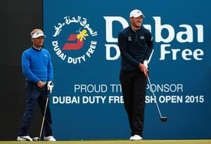 NEWCASTLE, NORTHERN IRELAND - MAY 30:  Soren Kjeldsen of Denmark watches Chris Wood of England tee off on the 1st hole during the Third Round of the Dubai Duty Free Irish Open Hosted by the Rory Foundation at Royal County Down Golf Club on May 30, 2015 in Newcastle, Northern Ireland.  (Photo by Ross Kinnaird/Getty Images)