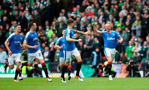 GLASGOW, SCOTLAND - APRIL 17:   Kenny Miller of Rangers celebrates after scoring the opening goal of the game during the William Hill Scottish Cup semi final between Rangers and Celtic at Hampden Park on April 17, 2016 in Glasgow, Scotland.  (Photo by Ian MacNicol/Getty Images)