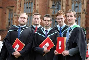 Left to right - Steven Crawford from Ballymena, Aaron Stewart from Magherafelt, Michael Armstrong from Ballymena, Derek Lynch from Londonderry and Graham Thompson from Bushmills all graduated with a degree in Health and Leisure from Queen's University.