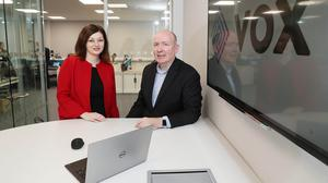 Susan O'Kane, eastern regional manager, Invest NI with Terry Robinson, chief executive of Vox Financial